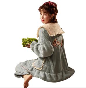 Pijama señoras primavera / otoño / de invierno estilo de terciopelo reforzado con franela franela encantadora tamaño grande en casa