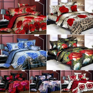 AsyPets 4Pcs Set 3D Rose Flower Printing Pillowcase Quilt Cover Bed Sheet Bedding Set Y200111