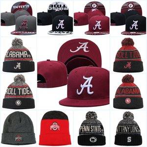 Nakrası NCAA Alabama Crimson Gelgit Snapback Caps Kırmızı Ohio Eyalet Buckeyes Örgü Şapka Penn State Nittany Aslanlar Beanies Caps Bir Boyut en uygun