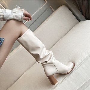 Hot Sale MORAZORA 2020 Large size hot sale knee high boots fashion high heels ladies shoes winter solid color women boots black apricot
