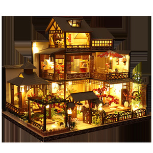 Kids Toys Diy Dollhouse Assemble Wooden Miniatures Doll House Furniture Miniature Dollhouse Puzzle Educational Toys For Children LJ201126