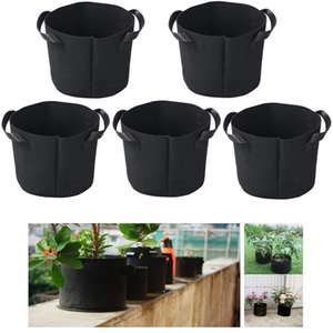 5PCS Grow Bags Breathable Non-woven Fabric Flower Pots Potato Tomato Strawberry Vegetable Fruit Plant Garden Planter Bag Handles Q1125