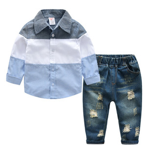 DFXD Kids Clothes Boys Clothing Set New Arrival Spring Long Sleeve Blouse Shirt+Jeans Pant 2pc Fashion Kids Outfits 2-7Y Y1117