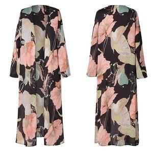 Flower Print Kimono Shirt Ethnic New Cardigan Casual Loose Long Blouse Chiffon Sun Protection Beach Tops Female