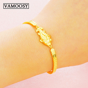 Top Quality 100% 24K Gold goldfish Link Chain Bracelets & Bangles for Women Authentic gold Jewelry Gifts 2019 wedding bracelets Y1119