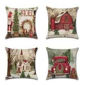 Cartoon Christmas Cushion Cover Decorative Sofa Pillow Cover Case Seat Car Home Decor Throw Pillowcase Christmas Decoration