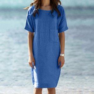 Womens Summer Dress Short Sleeve Cotton And Linen Dress Loose A-line Party Sundress Pocket Dresses Vestido De Mujer