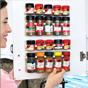 4PCS Spice Racks Kitchen Storage Rack Wall Mount Ingredient Spice Bottle Rack Plastic Clip Rack Cabinet Door Hook Jars Spice Holder Free DHL