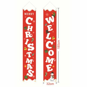 Merry Christmas Banner Wall Hanging Door Curtain Banners Porch Party Decoration