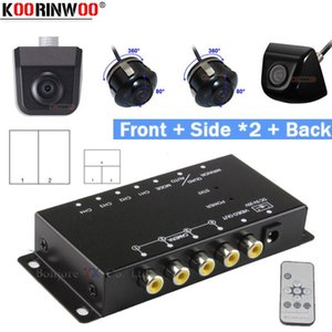 Koorinwoo 360 Round Remote control Split Parking For 4 Cameras Switch Combiner Channel Box CCD Left Right Front Rear view Camera car