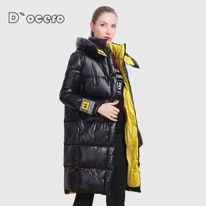 CEPRASK Yeni Yüksek Kaliteli Kış Ceket Kadınlar Artı Boyutu Uzun Kontrast Renkler kadın Kış Coat Kapşonlu Giyim Parkas 201123