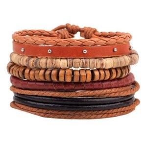 Новый стиль браслет орнамент многопартный комбинированный браслет ручной работы из кожи ручной работы деревянные бусины из бисера сплетенный браслет N JLLBCB