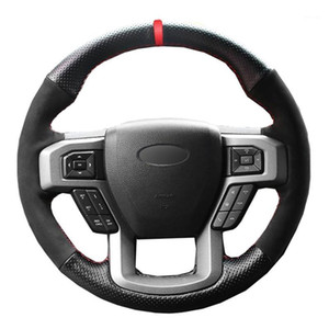 Крышка рулевого колеса автомобиля черная натуральная кожаная замша для F-150 F150 King Ranch Ranch Lariat Platinum XL XLT 2020 2020 Volant1