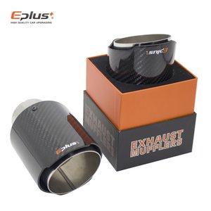 EPLUS Coche de fibra de carbono brillante de fibra de carbono Suministro de escape Sistema de escape Mufflers Boquilla Universal Straightless Silver para Akrapovic