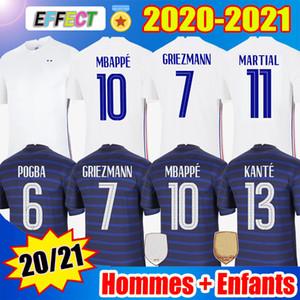 Camisas de futebol de França 2020 Soccer Jerseys MBAPPE GRIEZMANN POGBA Jersey 2021 KANTE maillot de foot Seleção masculina + infantil Feminino kit Enfants