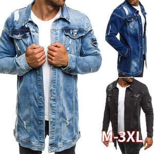Men Spring Jean Jacket Cowboy Coat High Quality Autumn Style Beggar Hole Denim Jacket Loose Thin Sleeve Cowboy XXXL