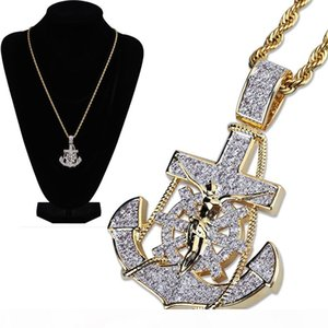 New 18K Gold Plated Iced Out Cublic Zirconia Vintage Anchor Pendant Necklace Twist Chain 2 Colors Hip Hop PunkRock Jewelry Gifts for Guys