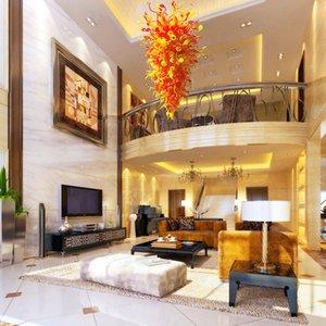 Nordic Big Villa Decor Orange Red Murano Art Glas Kronleuchter Luxus Großhandelspreis Heiße Verkäufe Customized Kronleuchter