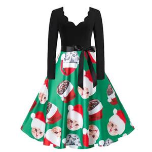 Vintage Plus Size Women Long Sleeve Christmas Dress Winter Swing Elegant Party Dress Vestidos De Invierno De Manga Larga 2020