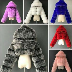 Mulheres jaquetas designer roupas sólidas cor moda casaco curto imitação fox pele manga longa costura inverno