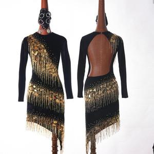 High-end Custom Ladies Latin Dance Dress For Women's Ballroom Competition Shiny Glass Piece Beaded Tassel Skirt Evening Dresses