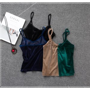 V-neck Sexy Velvet Solid Color Short Tank Tops Slim-fit Elastic Sleepless Shirts Spaghetti Strap Cami Top Camisoles for Women