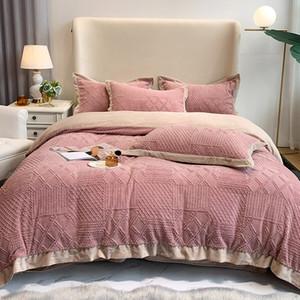 Home Textiles Nordic Style Bedding Set Plush Bed Linen Set Quilt Cover Pillowcase Winter Velvet 4pcs Set Double Bed Supplies