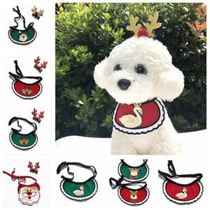 Dogs Bibs Christmas Dog Punto Bandana Suministros para mascotas Accesorios para Perros Bufanda Mascotas Puppy Appare Accesorios Elk Adornos de cabello YHM159-1