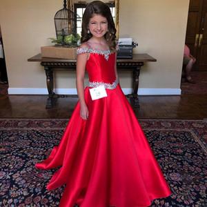 Little Miss Pageant платье для подростков Юниоров Малышей 2021 Бисероплетения AB Камни Кристалл Длинной Pageant платья для маленькой девочки Формальной партии Рози