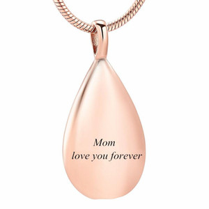IJD9945 Rose Gold Carved Teardrop Stainless Steel Cremation Souvenir Pendant for Ashes Urn Keepsake Memorial Necklace Jewelry