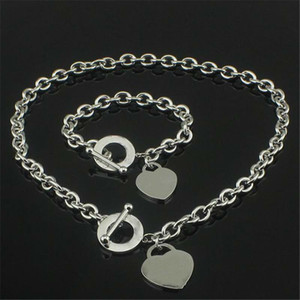 День Святого Валентина подарок 925 серебро любовью ожерелье + браслет набор свадебные выступления ювелирные изделия сердца кулон ожерелье браслеты наборы 2 в 1