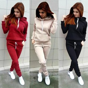 40# Women Blacklessolid Casual Hoodie Solid Color Sets Zipper Wear Lounge Wear Suit Sport Set Hoodies Tops+pants Sudaderas