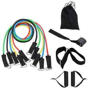 11Pcs Resistance Bands Set Yoga Exercise Fitness Band Rubber Loop Tube Bands Gym Pilates Home Body Training Workout Supplies Q1225
