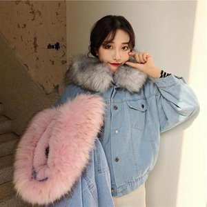 Faux Fur Collar Denim Jacket Women Winter Coat Warm Short Parkas Velvet Thick Basic Jean Jacket Casual Female Bomber Coat 2021
