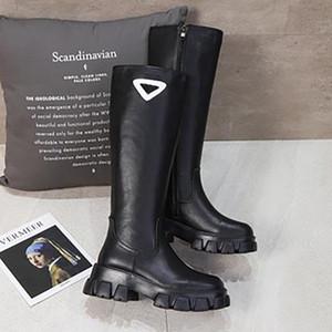 2021 Neue Mode Top Qualität Cate Boot für Frauen Bodenstiefel Plattform Ferse Frauen Winter Schuhe Glatte Leder Knie Hohe große Stiefel