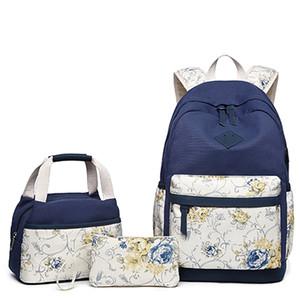 Backpacchi per laptop da viaggio Canvas Womens College Backpack Zaino con porta USB Caricabatterie con Borsa per il pranzo TOTE BAG Y0119