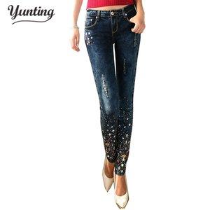 Moda mulheres diamante nascido mulheres quebrados peito pés batatas Broek longo escuro jeans azul com strass