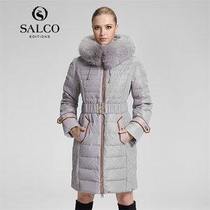 Salco Envío gratis Estilo europeo y americano Últimas Moda Casual con capucha Lady Fox Chaqueta de piel y secciones largas LJ201215