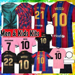 10 Messi Barcelona Maillots de Football Shirt Soccer Jersey 8 A. Iniesta Griezmann F. De Jong Suarez Dembele COUTINHO MALC MENS KIT DE NIÑOS