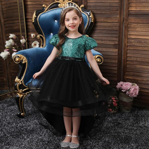 Noble and elegant children pink wedding dress Sequin Princess Party Dress big bow fashion girl 3-14 birthday party dress