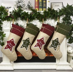 A-Stocking Christmas Tree Ornament Xmas Kdis Gift Linen Hosiery Candy Party Hanging Socks Decorations Bag DHE1274