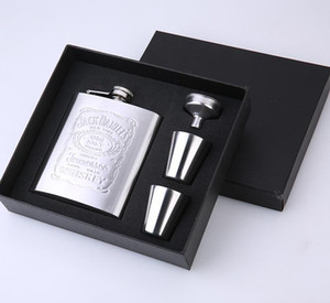 Small Pocket Wine Bottles Set With Wine Glass Funnel Customizable Hip Flask Outdoor Portable Stainless Steel 7oz Hip Flask Set DHA2350