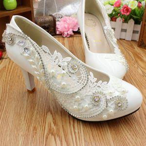 مخصص أحذية الزفاف الزفاف 2021 المنصات هريرة عالية الكعب الرباط اللؤلؤ بلورات أحذية حزب أبيض ل العرائس وصيفة الشرف جولة تو