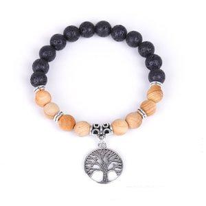 Trendy Natural Volcanic Stone Handmade Beaded Bracelets Life Tree Lava Rock Elastic Hand Chain Diffuser Beads Bracelet Gift Kimter-X936FZ