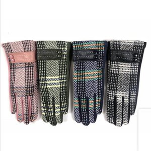 Guantes Plaid Wool Pantalla táctil Mittens Mujeres más Velvet Grossening Five Fingers Guantes Ladies 'Riding Girls Winter Gloves Cálidos GWB4027