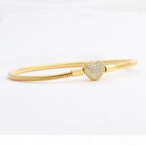 High End Wholesale -Love Cz Diamond Bracelet For Pandora 925 Sterling Silver Plated 18k Gold Heart Shaped Snake Bone Chain Women ' ;S Brac