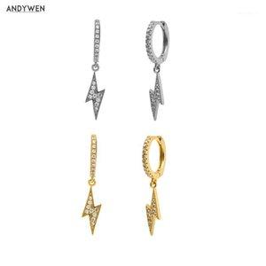 Andywen 925 Sterling Silver Deux éclairage Boucle d'oreille Femmes Cercle CZ Zircon Luxe Mode Rock Punk Crystal Bijoux1