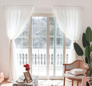 Sheer Curtains Curtain not transparent Yarn finished white yarn balcony screen partition living room half shading window screen white cloth