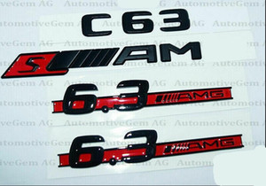 C63 fit AMG 6.3 fit AMG Rear Star Emblem Sedan Coupe Black Badge Combo Fit for Mercedes W204
