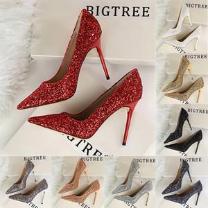 Yeni kadın yüksek topuklu ayakkabı sığ ağız sivri burun parlak glitter sequins seksi gece kulübü stiletto topuklu gelinlik ayakkabı kız pompalar